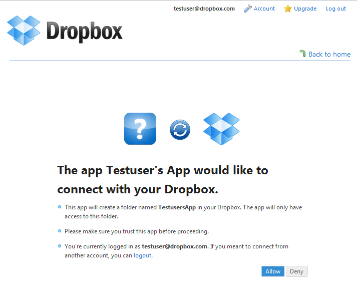 dropbox interface auth